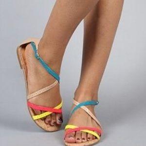 Dolce Vita neon strappy sandal cork summer bright